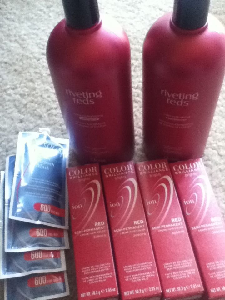 Ions hair dye in red. Riveting reds shampoo and conditioner. Red hair masques. # Sally's beauty supply store