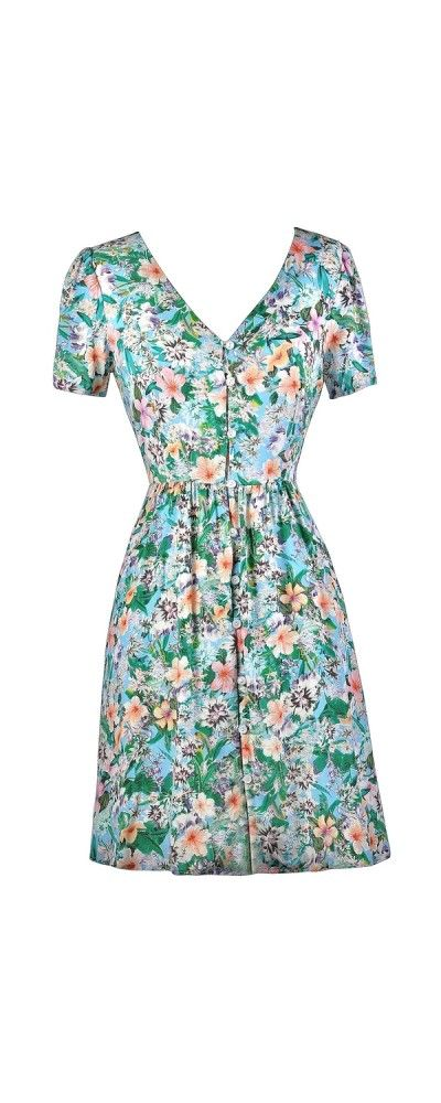 Lily Boutique Luau Lovely Hawaiian Print Button Front Dress, $38 Hawaiian Print Dress, Cute Hawaiian Dress, Luau Dress, Tropical Print Dress, Floral Print Dress www.lilyboutique.com