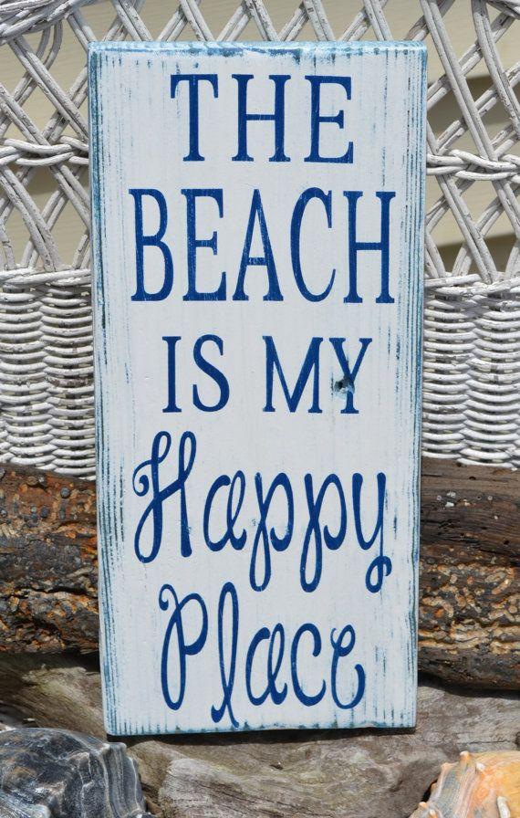 Beach Decor, The Beach Is My Happy Place - Beach Sign - Beach Theme - Home Wall Hanging -  Coastal Decor - Nautical - Wood - Painted