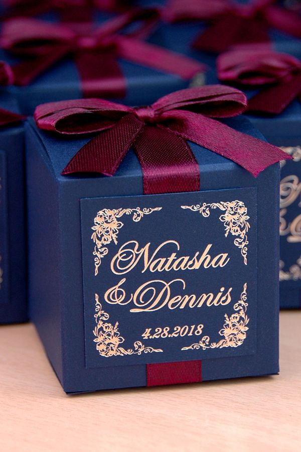 50 Wedding bonbonniere with gold foil personalized - Navy ...