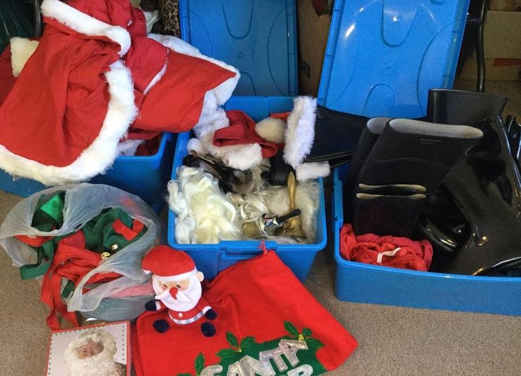 HUGE LOT Santa Mrs Claus Complete Outfits Christmas Costumes Beards Bells Hats in Clothing, Shoes, Accessories, Costumes, Unisex Costumes | eBay!