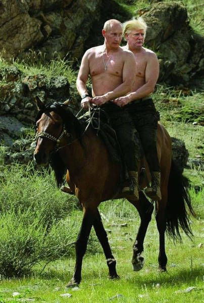 Topless Vladimir Putin and Donald Trump riding a horse.
