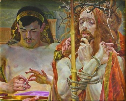 Jacek Malczewski - Christ Before Pilate, Oil on Canvas (1910)