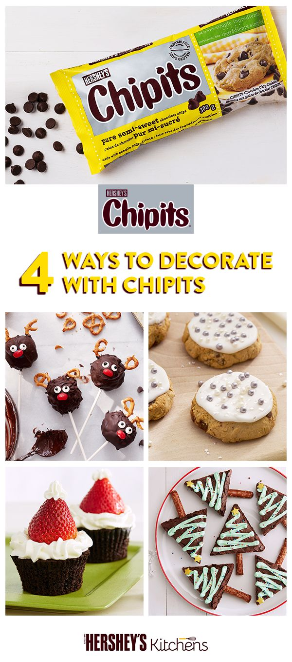 Baking for a holiday party? Get creative and discover all the ways to add a festive touch with playful and wonderfully creamy Hershey's CHIPITS.