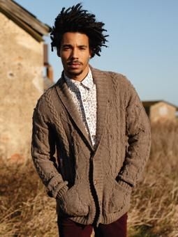 Knit this mens cable and texture cardigan with anchor motif from Wintertide. A design by Martin Storey using British Sheep Breed DK Undyed, a beautiful soft yarn spun entirely from the Bluefaced Leicester, Jacob and Suffolk breeds of sheep  and comprising 100% British wool. This knitting pattern is suitable for the more experienced knitter.