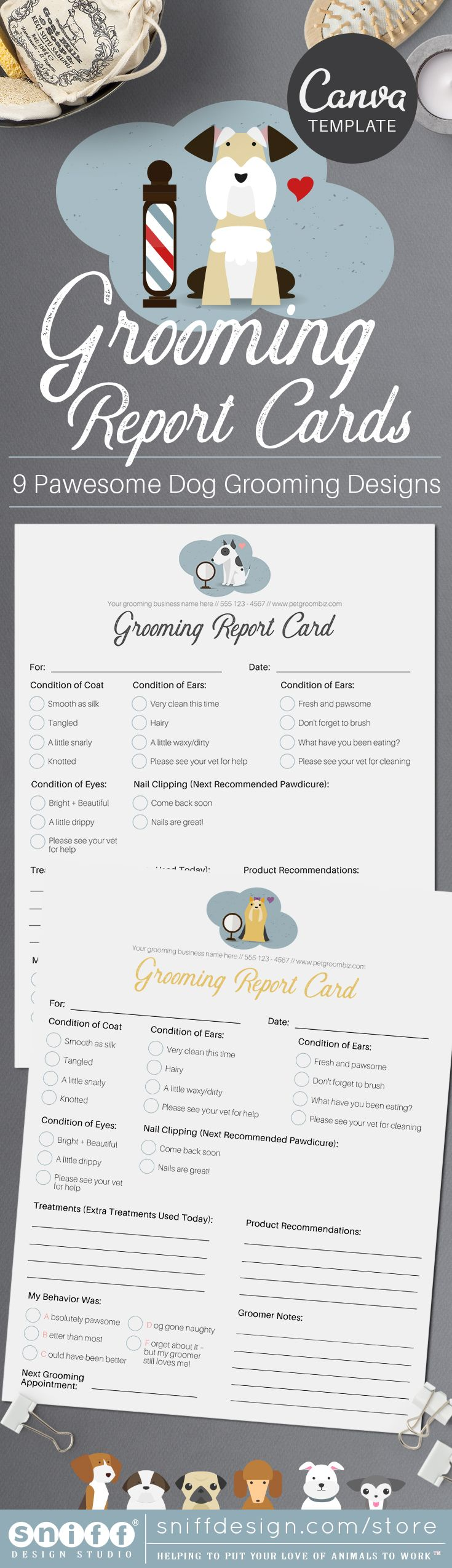 Pet Grooming Report Card Pack Canva Template Pet Grooming Pet Grooming Business Pet Sitting Business