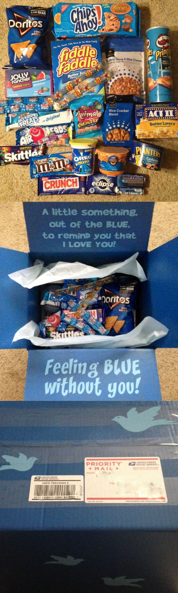 """Out of the Blue"" Care Package  Sent these to my kids at college.  Items included:  BLUE THINGS! :)  Doritos, Chips Ahoy, Pringles, Fiddle Faddle, Jolly Ranchers, Trail Mix, Zots, Microwave Popcorn, Rice Krispie Treat, Airheads, Skittles, Frosted Animal Crakers, Oreo Minis, Rice Crackers, Nestle Crunch, Eclipse Gum, Mac & Cheese, Mentos, Cashews & Life Savors.  I spray painted the boxes, added lettering to the inside flaps and little birds on the outside of the boxes.  So much fun! :)"