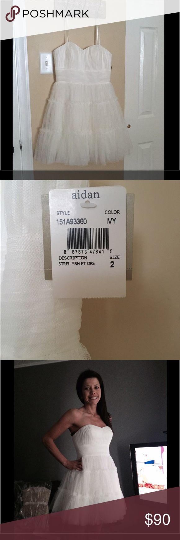 Aidan Mattox Strapless Mesh Party Dress Size 2 New Aidan Mattox Strapless Mesh Party Dress Size 2 Color Ivory Aidan Mattox Dresses Strapless