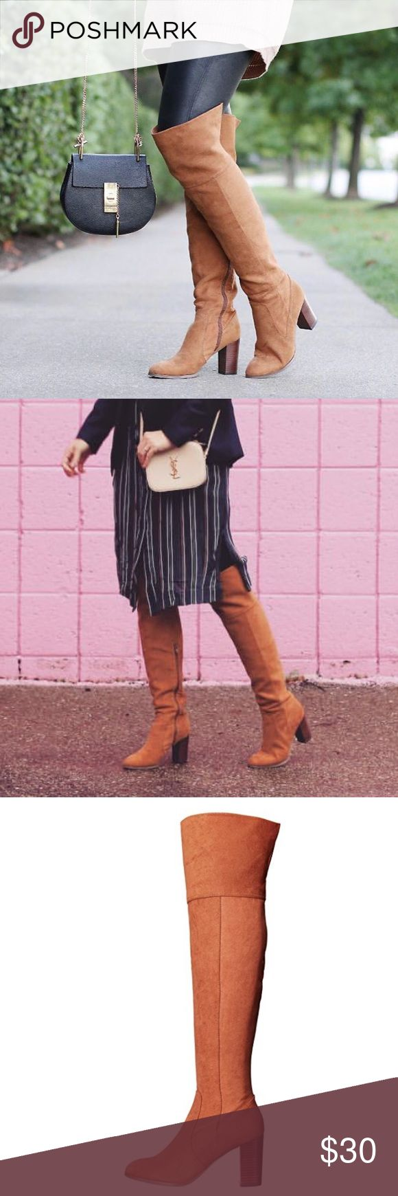 STEAL  Tan Knee-High Boots. *COMING SOON* Material: Faux Suede Sole: Synthetic   - Hell Height: 3.25 inches.  - Platform Height: 0.25 inches. - Shaft Measurement from arch: 22.25 inches. - Boot Opening: 15 inches around. - Zip Closure. - Round Toe.  No Holds/Trades/PP/Merc - Bundle to save. Report Shoes Over the Knee Boots