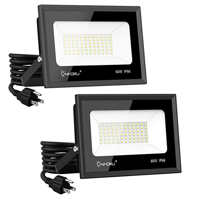 Onforu 2 Pack 60w Led Flood Light With Plug 6 500lm Super Bright Work Light 5000k Daylight White Security Lights Ip66 Waterproof Outdoor Landscape Security Lights Led Flood