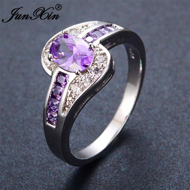 Junxin femenino púrpura oval anillo de oro llena de joyas de moda blanco y negro anillos de boda para las mujeres de la vendimia piedra de cumpleaños regalos