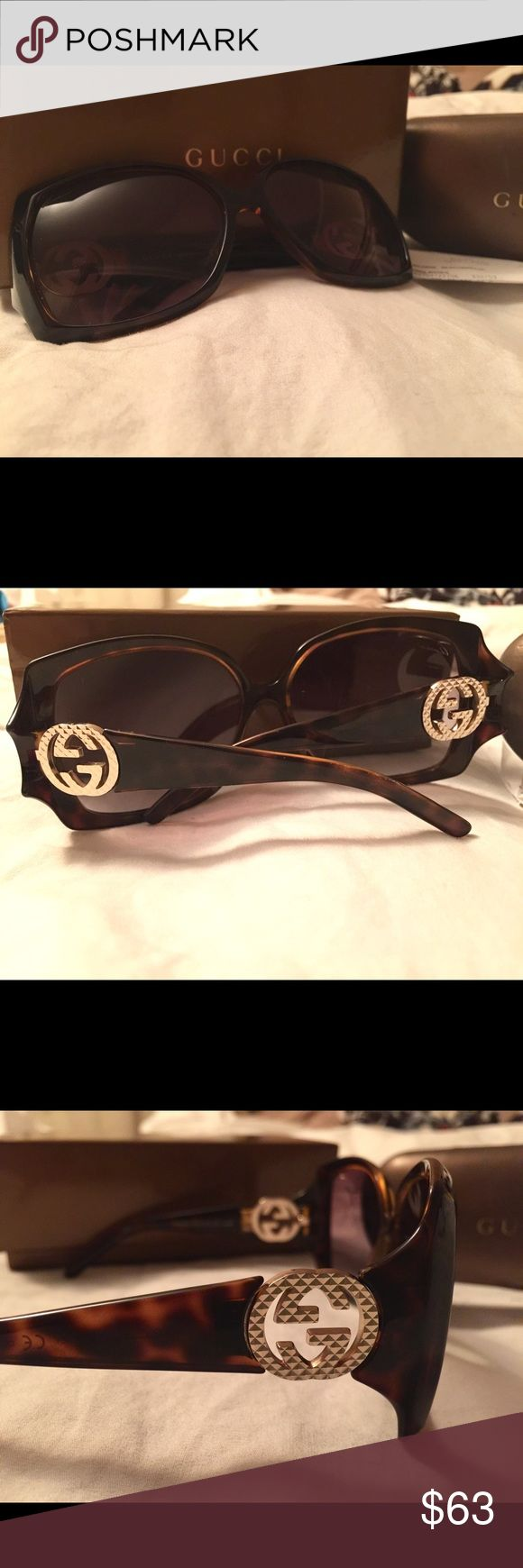 Gucci Sunglasses Gucci Sunglasses. See pics for details and wear. Comes with original box, original receipt & glasses case. Case has some scratches and wear. Glasses are missing a screw on the logo, but they are secure and it doesn't affect wearability. There are some signs of wear on the right lense- see pic. Originally $245 (June 2012).   Will ship same day if purchased before 2pm M-F. Otherwise, next business day. Open to all reasonable offers. Gucci Accessories Sunglasses