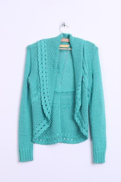BIBA Womens XS Bolero Cropped Knitted Green Shrug Top - RetrospectClothes