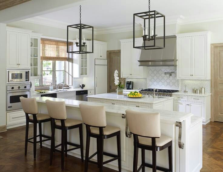 White kitchen high chairs long kitchen island kitchens - Kitchen island with stools ...