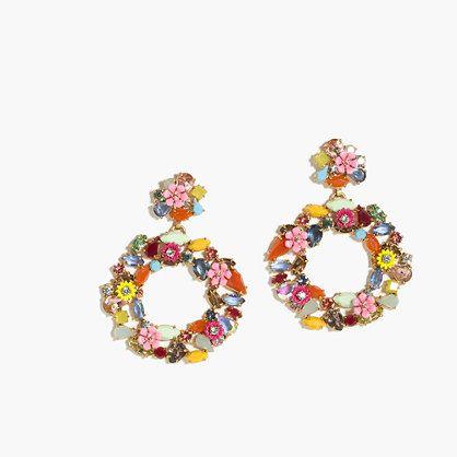 "The hoop earring is back...with a colorful, floral twist. <ul><li>Length: 2 5/8"".</li><li>Brass, zinc, epoxy stone, resin stone, glass stones, acrylic stone, cubic zirconia.</li><li>Light gold ox plating.</li><li>Import.</li></ul>"