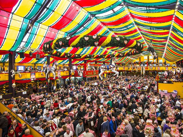 True or False: Children are never allowed in the beer tents during Oktoberfest.
