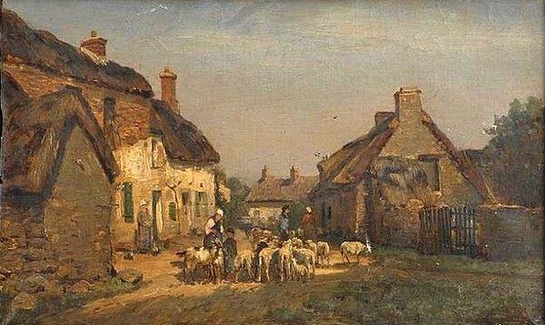 """""""Village in Morbihan, Brittany"""",  DeWitt Clinton Boutelle (American, 1820-1884)"""