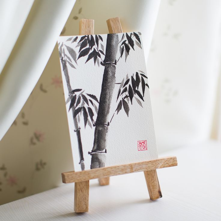 bamboo, sumi-e, ink painting, chinese ink painting, postcard, etegami, handmade postcard, hand drawn postcard, watercolor, gansai color, postcard by yulia lisitsa