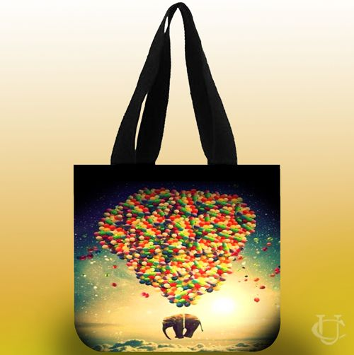 Sell Elephant fly balloon Tote Bags cheap and best quality. *100% money back guarantee