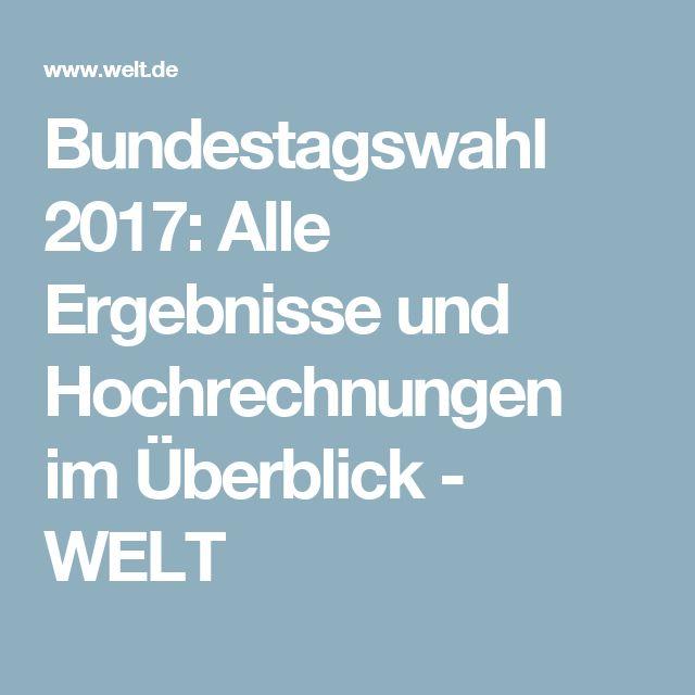 Bundestagswahl 2017: Alle Ergebnisse und Hochrechnungen im Überblick - WELT