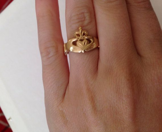 14K Yellow Gold Diamond Cut Claddagh Ring in Size by DevGalleries, $228.99