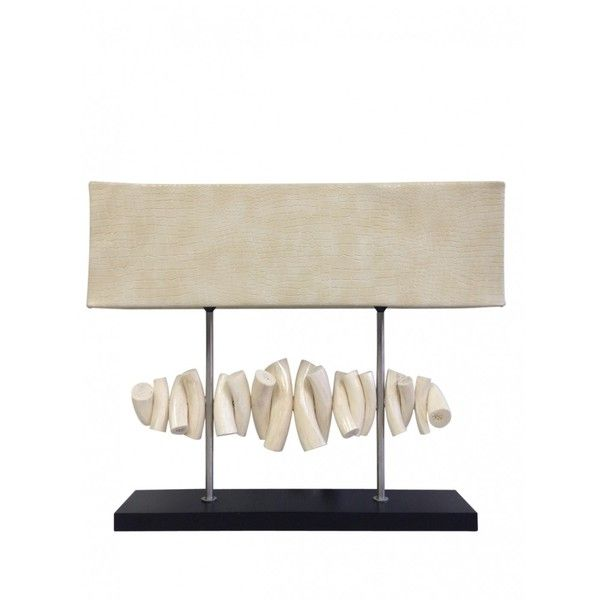 Kudu Inner Horn Lamp with Shade ($740) ❤ liked on Polyvore featuring home, lighting, table lamps, animal lights, animal table lamp, horn lamp and animal lamp