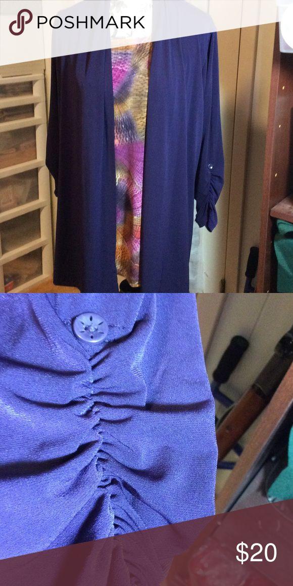 Susan Graver Tunic Set Rich purple. Rouch sleeves. Excellent condition Susan Graver Tops Tunics