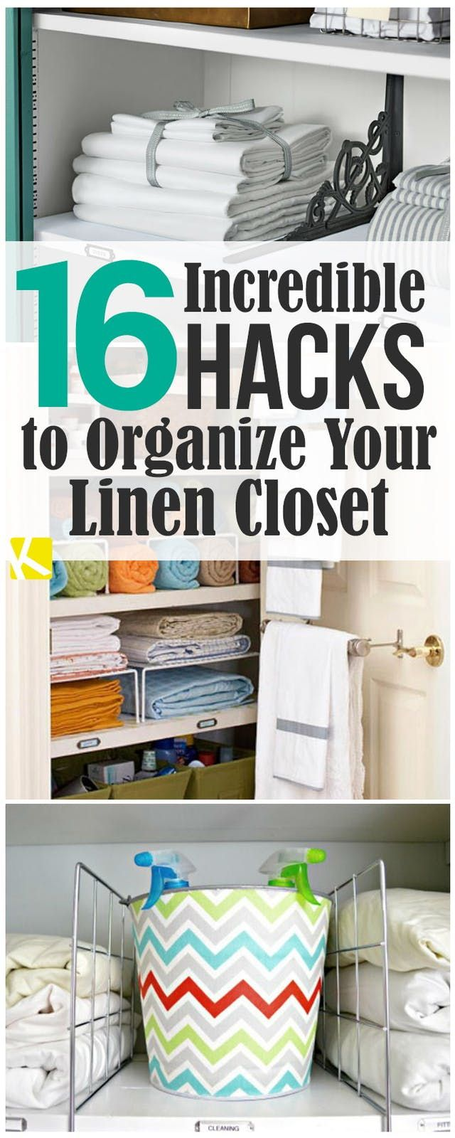 16 Incredible Hacks To Organize Your Linen Closet The Krazy Coupon Lady In 2020 Linen Closet Storage Small Linen Closets Linen Closet