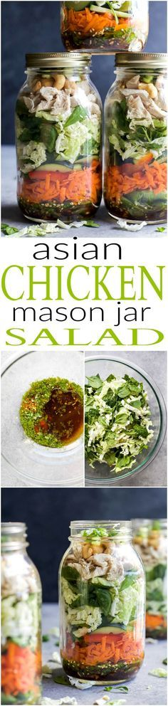 Mason Jar Salad recipes are a delicious, easy, and perfect lunch for the week! This ASIAN CHICKEN MASON JAR SALAD is loaded with veggies, napa cabbage, rotisserie chicken and topped with a Sesame Dressing - done in 30 minutes! | joyfulhealthyeats.com | gluten free recipes