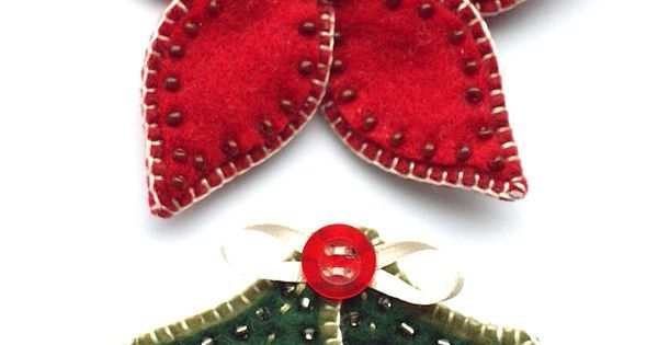 Holly leaves and poinsettias made from wool | Crafty Works | Pinterest | Poinsettia, Felt and Leaves