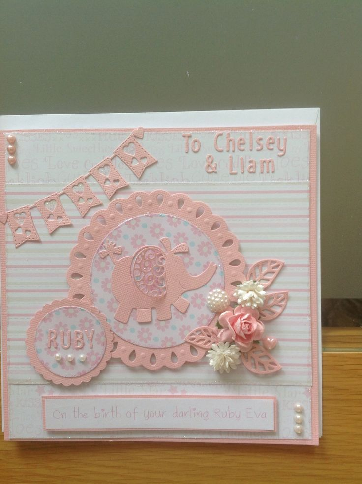 Tattered lace elephant baby girl card.