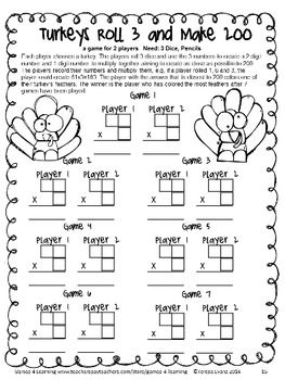 No Prep Thanksgiving Math Games for Fourth Grade by Games 4 Learning for bringing some fun, Thanksgiving math into the classroom - 14 printable games that review a variety of fourth grade skills. These games are ideal as math center games. $