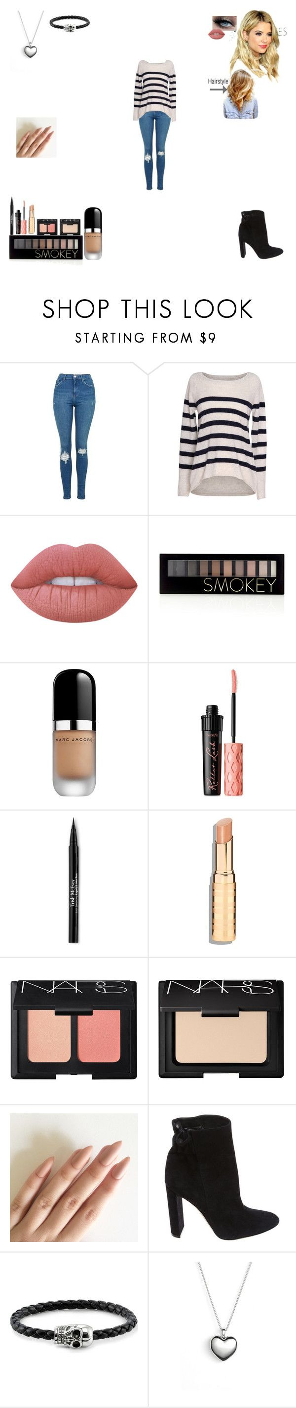 """Untitled #72"" by fcongreve ❤ liked on Polyvore featuring Topshop, Velvet by Graham & Spencer, Lime Crime, Forever 21, Marc Jacobs, Benefit, Trish McEvoy, NARS Cosmetics, Christian Dior and Thomas Sabo"