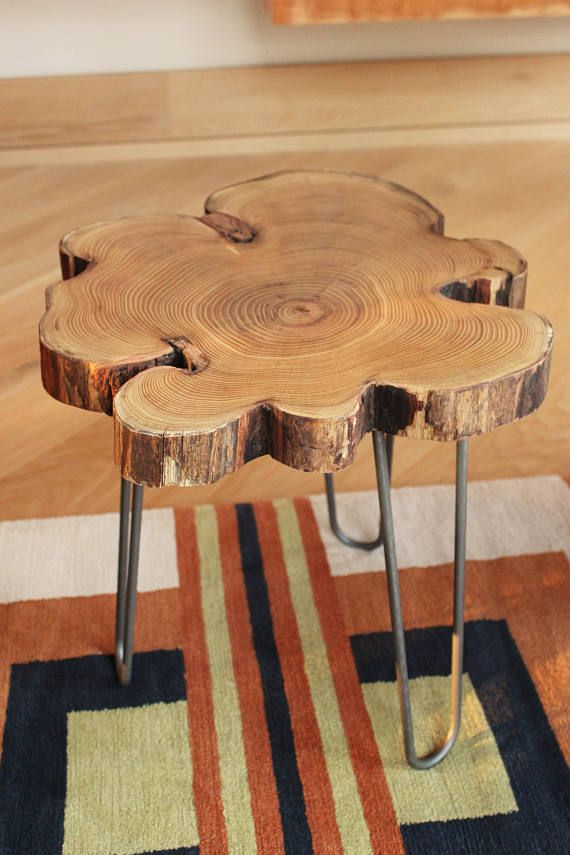 Black Locust Live Edge End Table Wood Slice Table With Steel Hairpin