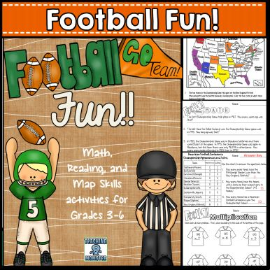Football Multi-Subject Packet: Reading comprehension, reading charts, ordering events from greatest to least, basic math skills, problem solving, locating states on a map, and more! Ages 8-12
