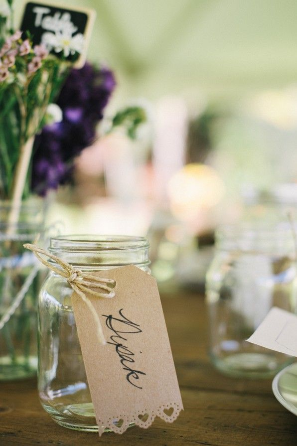 Adorable craft paper mason jar drink tags   real wedding inspiration from Christie Pham Photography via AislePlanner.com