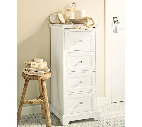 Marble-Top Sundry Tower | Pottery Barn  Extra storage in small bathroom, has pull-out tray.