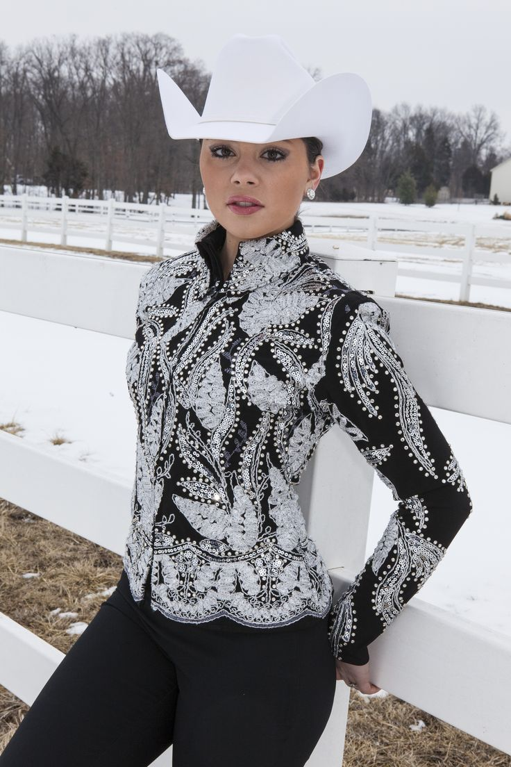 MISS KARLA'S CLOSET Custom Jacket / Showmaship / Halter / Rail $1875 Black and SIlver on Black base. Other colors can be ordered. http://www.misskarlascloset.com/western-show-apparel/mkc-custom-designs/custom-jacket-black-silver-white.html