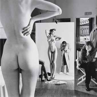 HELMUT NEWTON (1920-2004)  Self Portrait with Wife and Models, Paris, 1981