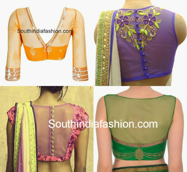 net back neck blouse designs