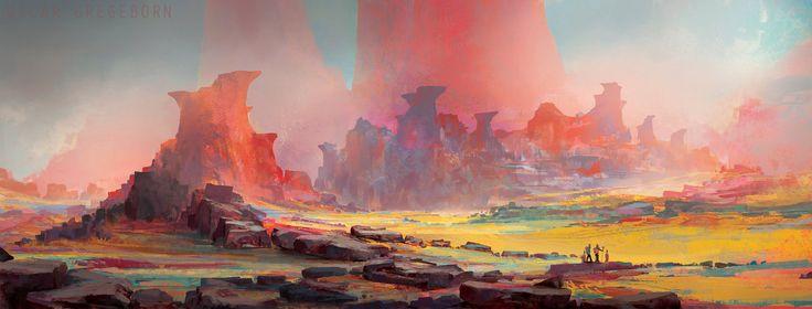 Crimson Spires, Oscar Gregeborn on ArtStation at https://www.artstation.com/artwork/crimson-spires
