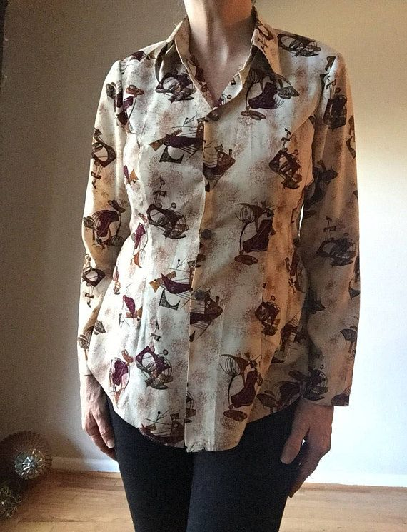 Vintage Womens Shirt 1960s Mid Century Graphic Design Blouse 60s Mad Men  Clothing Top True Vintage Womens Accessories
