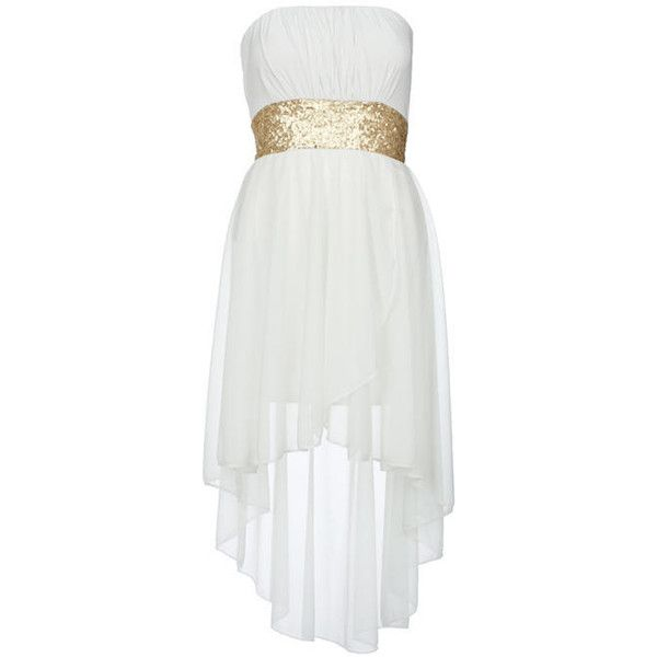Cream Sequin Waist Mixi Dress - Clothing - desireclothing.co.uk ($32) via Polyvore