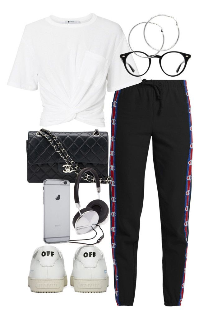 """""""Untitled #2402"""" by mariie00h ❤ liked on Polyvore featuring Vetements, Off-White, T By Alexander Wang, Chanel, Ray-Ban, Melissa Odabash and Forever 21"""