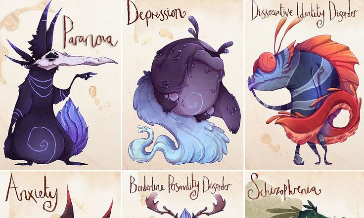 The mental illness MONSTERS - depictions of the struggles to help define them and give them their OWN personality/identity so as to dissociate one's self from the disease, and make it seem truly defeatable. LOVE!