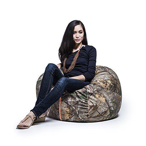 #homeoffice #TagsForLikesApp Realtree Camo 3ft Bean Bag Chair by #Jaxx. Bring the great outdoors indoors with the Realtree 3 foot Bean Bag Chair. This rustic ins...