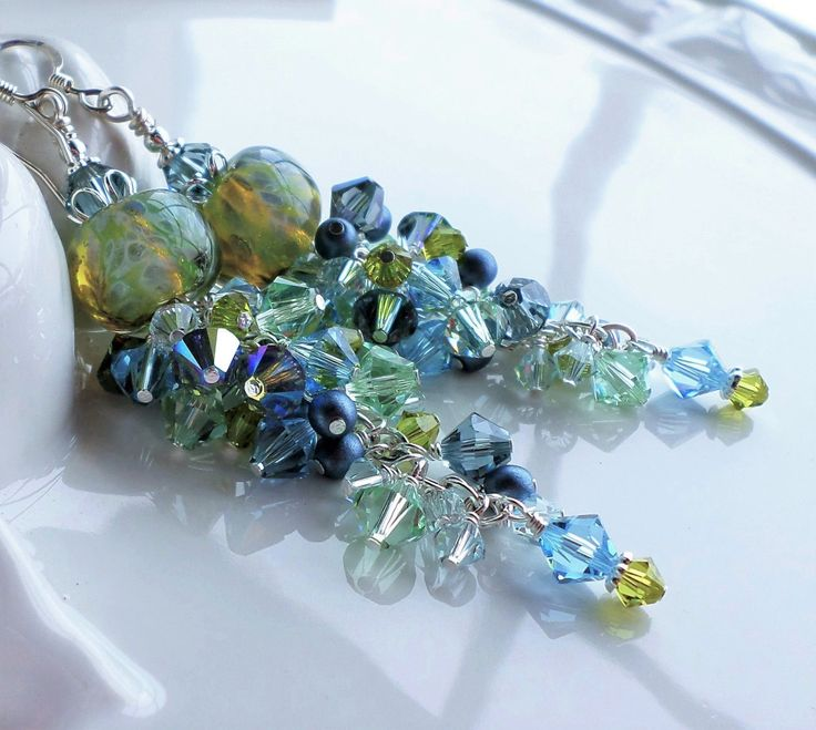 Borosilicate Glass Swarovski Crystal and Pearl Long Cluster Earrings In Blue Green Shades by hhjewelrydesigns on Etsy