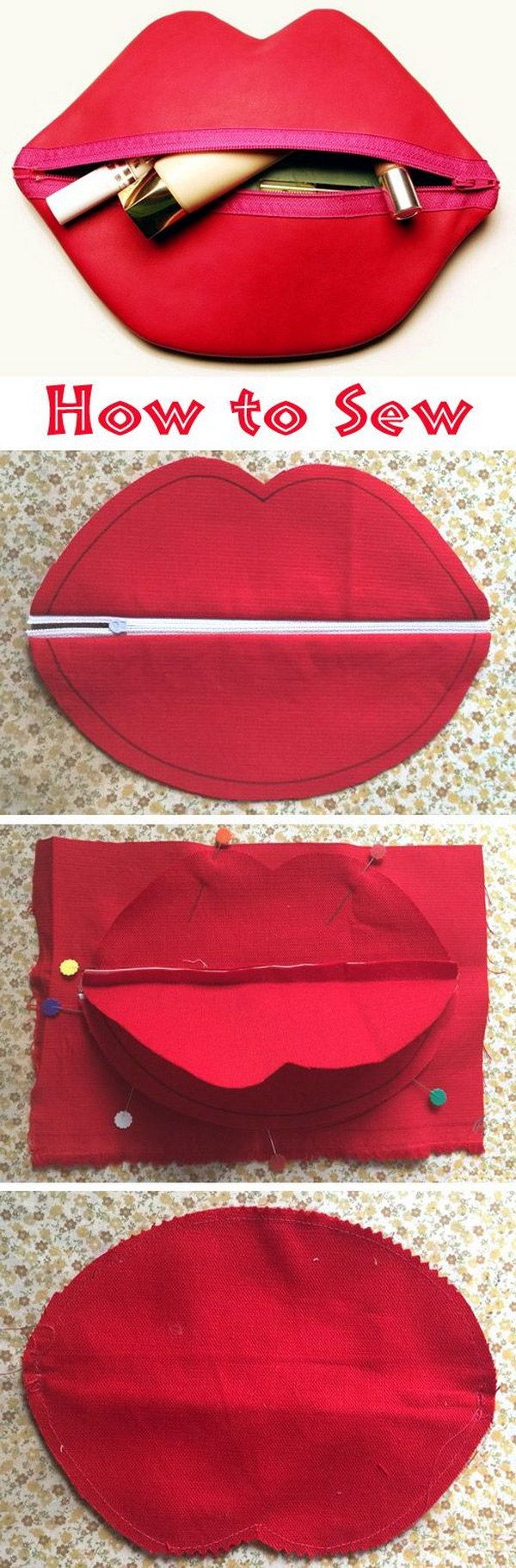 DIY Zipped Lip Makeup or Cosmetic Bag.