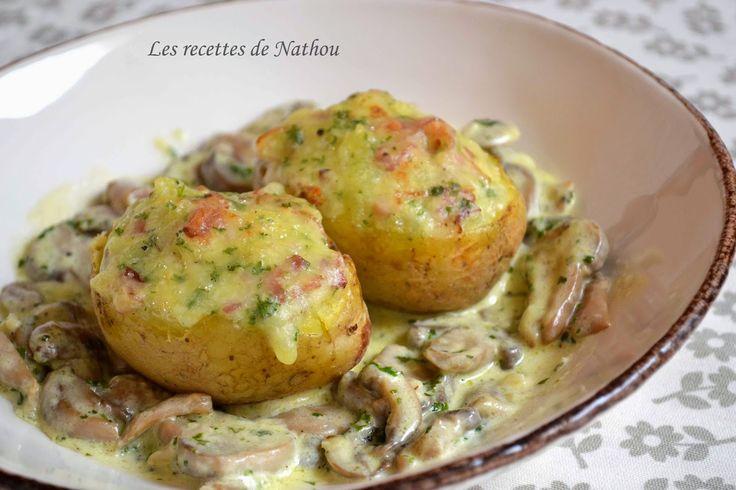 Les recettes de Nathou: Pommes de terre farcies au lard et Reblochon, cham...