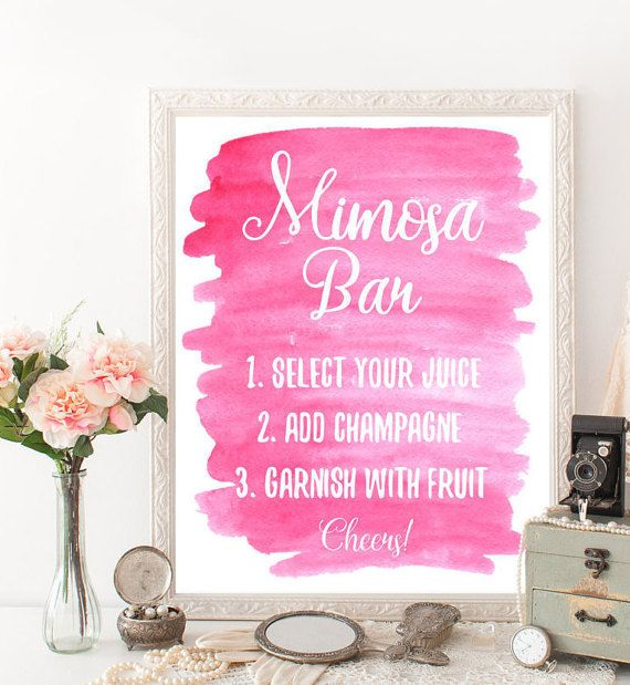 Pink mimosa bar sign Printable bridal shower signs watercolor signs Mimosa sign Pink wedding decor Bachelorette party  table brunch sign